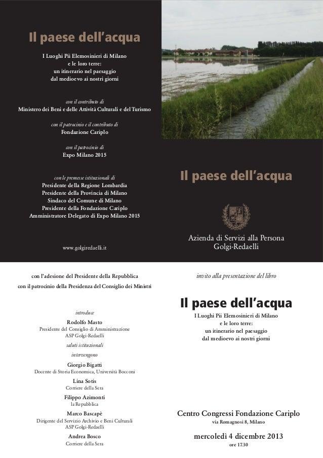 Invito presentazione Il paese dell'acqua - 4 dicembre 2013