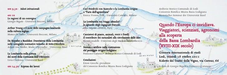 Quando l'Europa ci invidiava. Viaggiatori, scienziati, agronomi alla scoperta della Bassa Lombardia (XVIII-XIX secolo).