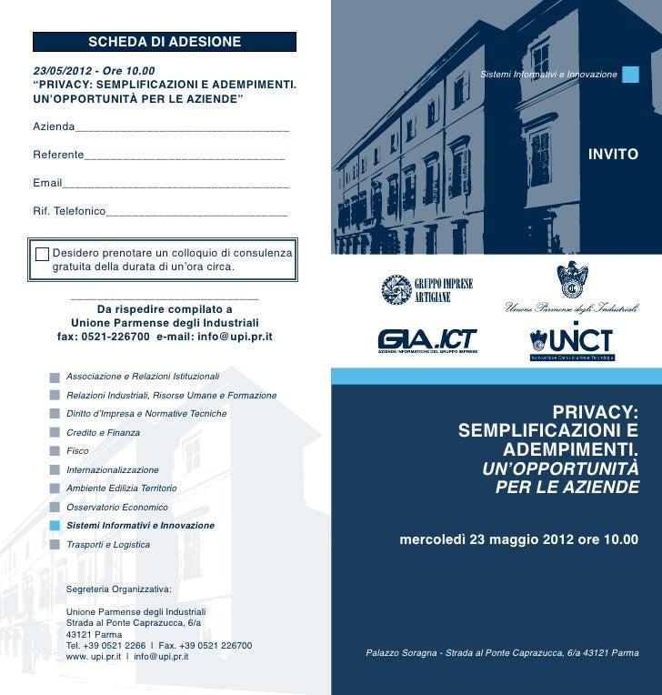 SCHEDA DI ADESIONE23/05/2012 - Ore 10.00                                                            Sistemi Informativi e ...