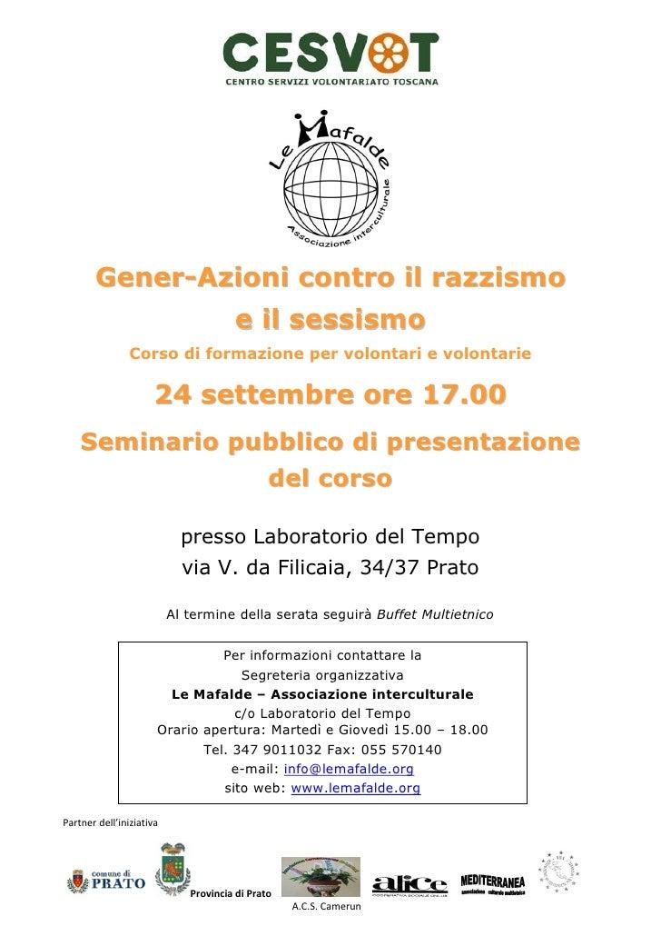 Gener-Azioni contro il razzismo                                       e il sessismo                 Corso di formazione pe...