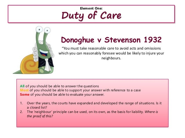 donoghue v stevenson 1932 Our marking service will help you pick out the areas of your work that need improvement.