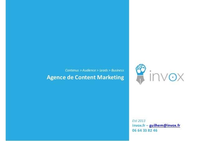 Invox -- Content Marketing -- Présentation