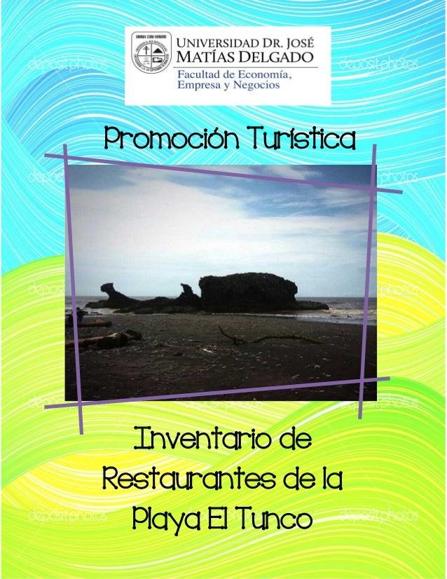 Promoción Turística  Inventario de Restaurantes de la Playa El Tunco