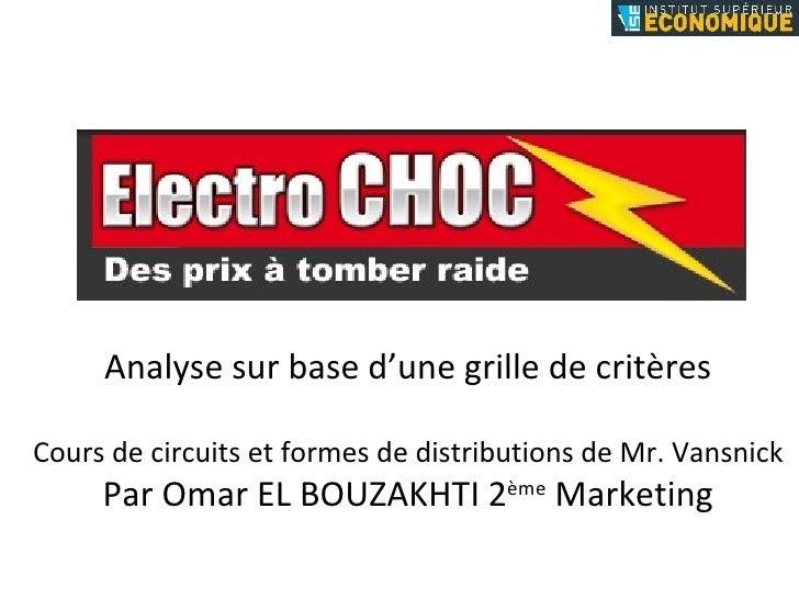 Analyse sur base d'une grille de critères Cours de circuits et formes de distributions de Mr. Vansnick Par Omar EL BOUZAKH...
