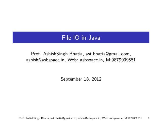 Java I/O Part 1