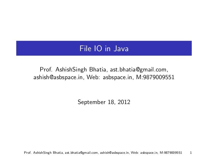 I/O in java Part 1