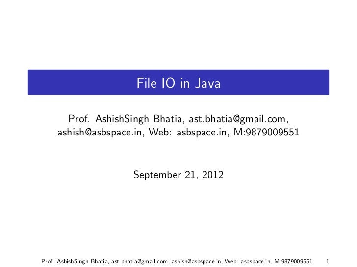 I/O In Java Part 2