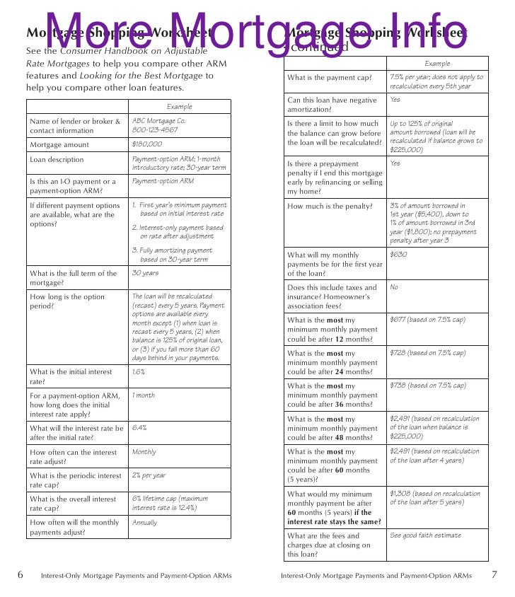 Worksheet Mortgage Shopping Worksheet io and poa disclosure booklet2 5 more mortgage info shopping worksheet