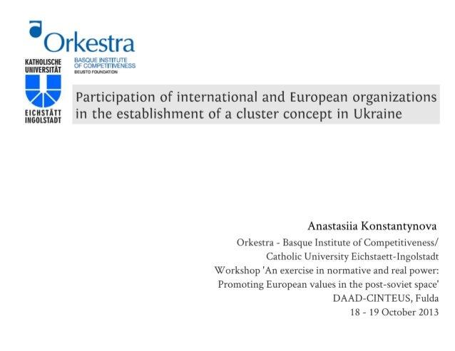International organizations & cluster concept promotion in Ukraine