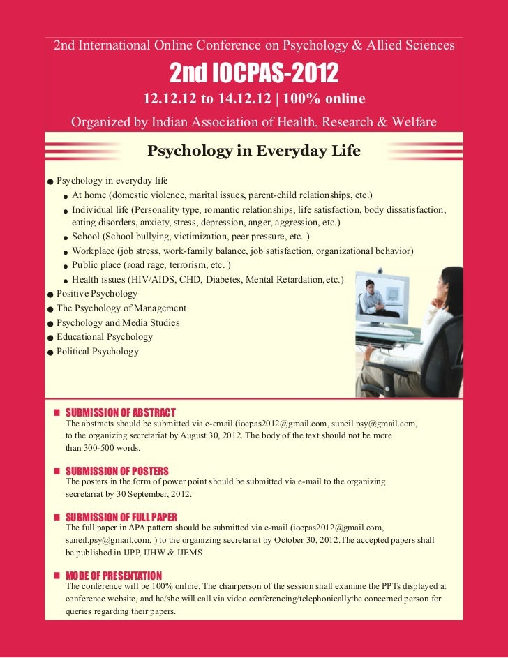 2nd International Online Conference on Psychology & Allied Sciences