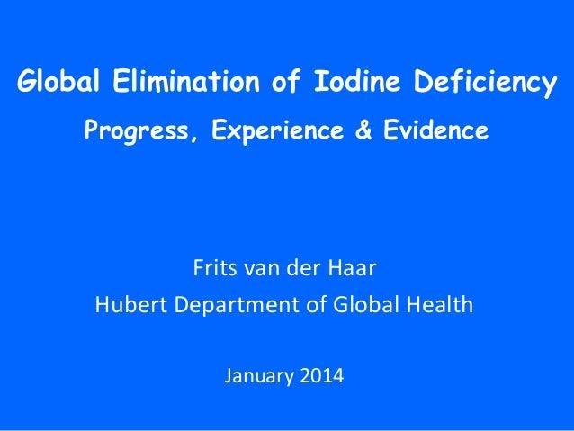 Global Elimination of Iodine Deficiency Progress, Experience & Evidence  Frits van der Haar Hubert Department of Global He...