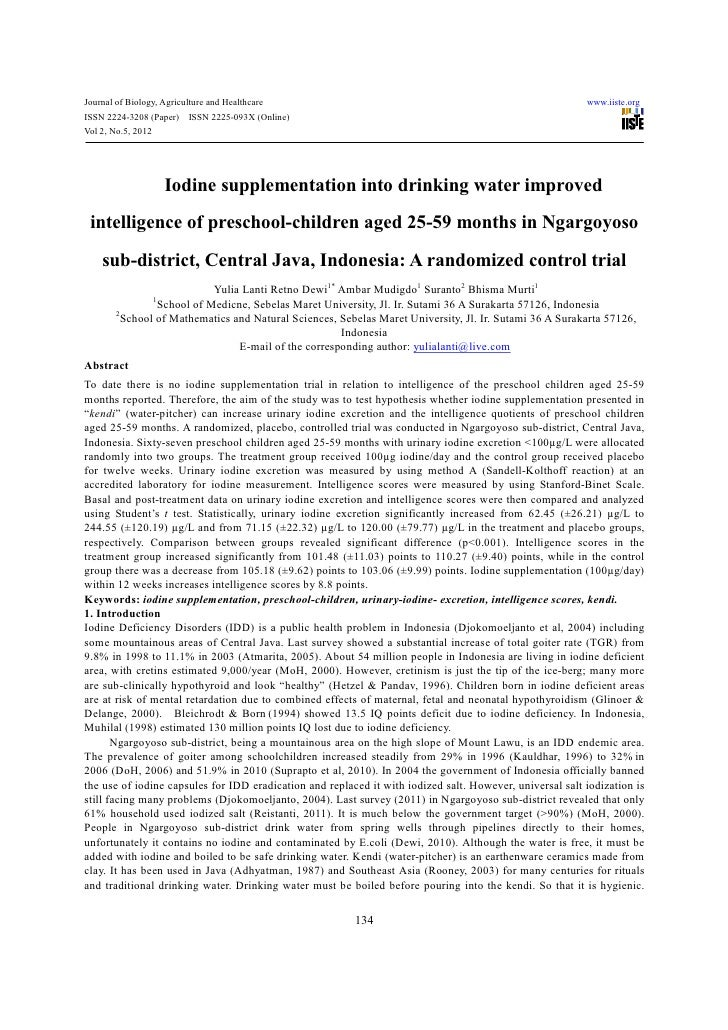 Iodine supplementation into drinking water improved intelligence of preschool children aged 25-59 months in ngargoyoso sub-district, central java, indonesia