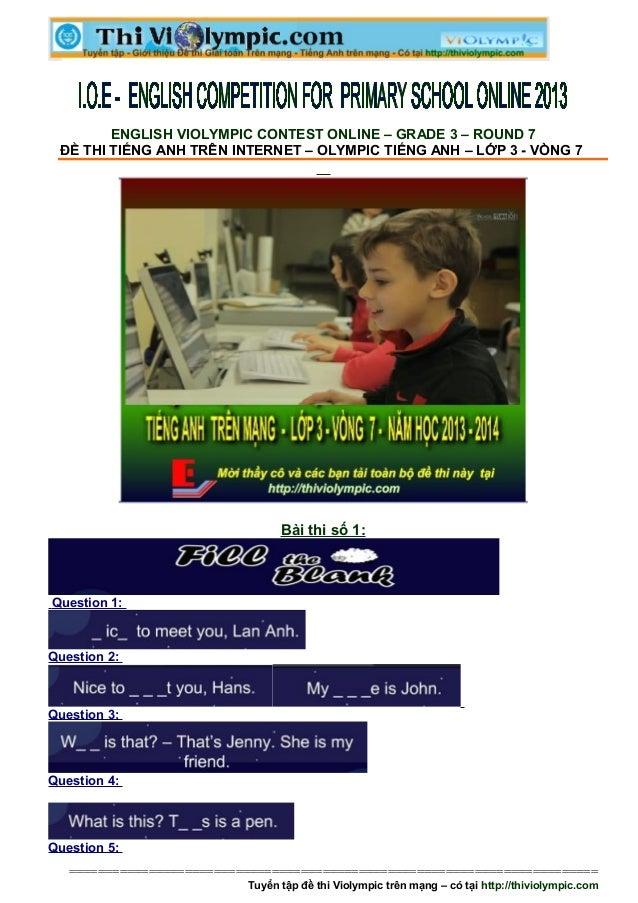 Hướng dẫn làm bài thi IOE Tiếng Anh lớp 3 - vòng 7