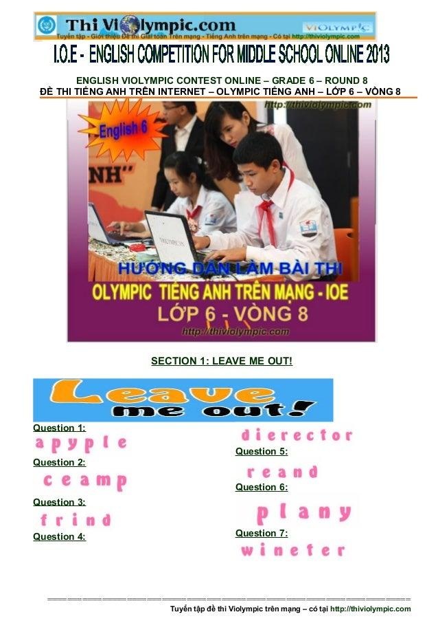 Thi IOE Tiếng Anh 6 - English Online IOE vòng 8