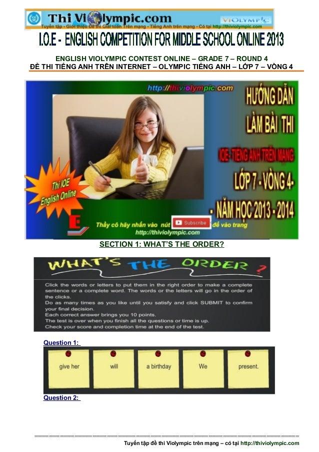 Đề thi IOE Tiếng Anh Lớp 7 - Vòng 4- 2013- 2014