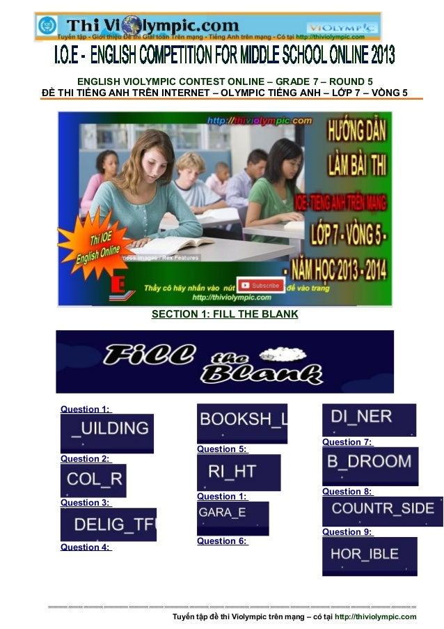Đề thi IOE Tiếng Anh Lớp 7 - Vòng 5 - 2013- 2014