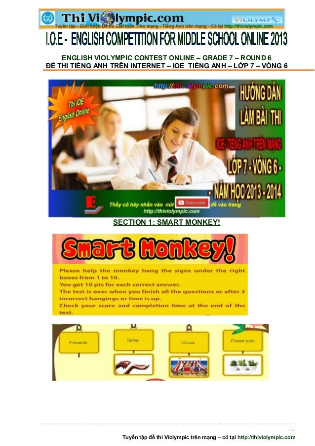 Đề thi IOE Tiếng Anh Lớp 7 - Vòng 6 - 2013- 2014