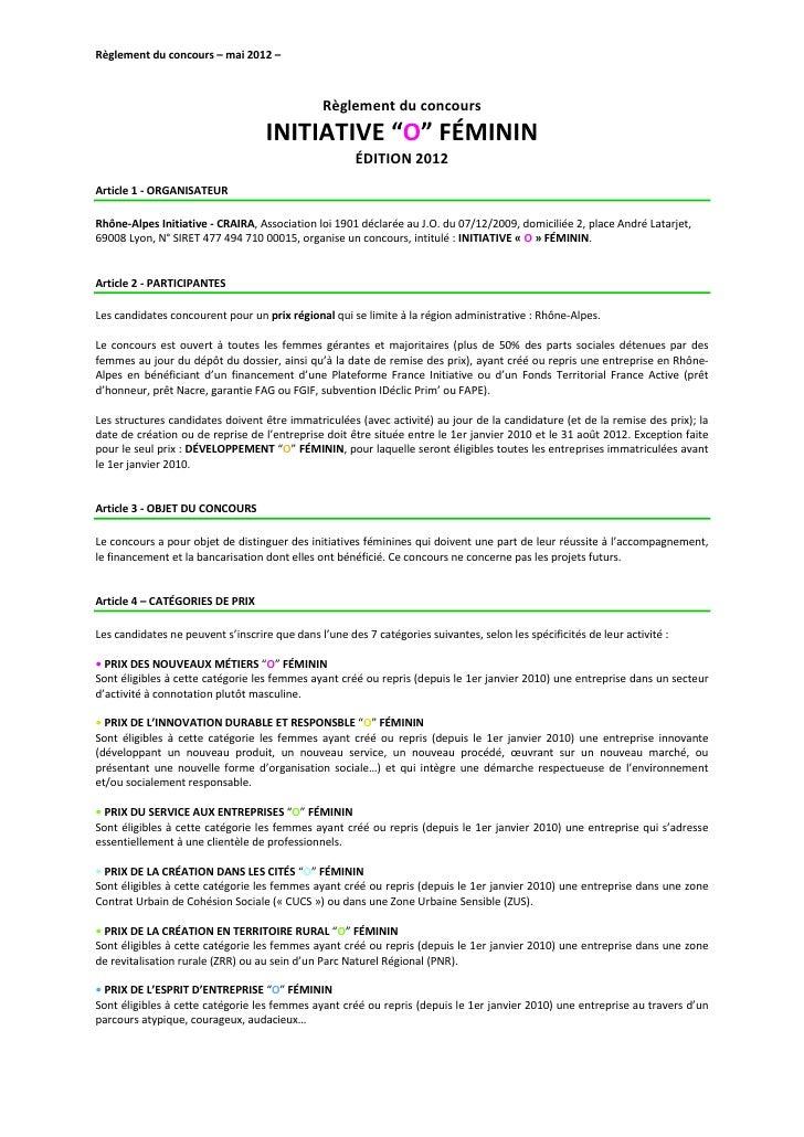 Règlement du concours – mai 2012 –                                                Règlement du concours                   ...