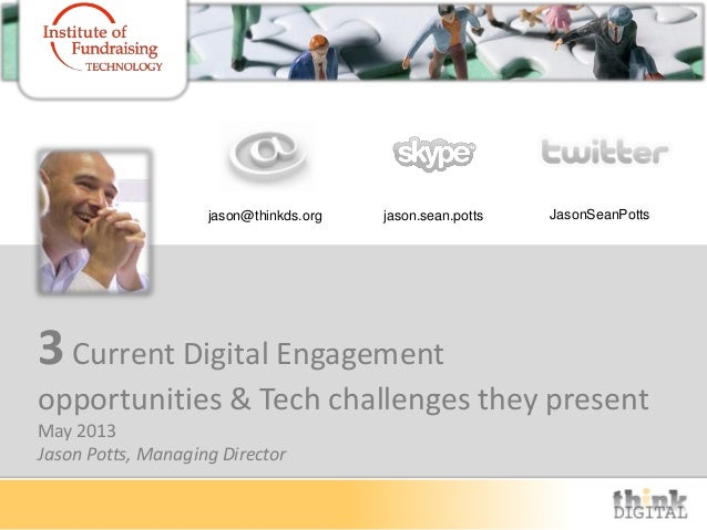3Current Digital Engagementopportunities & Tech challenges they presentMay 2013Jason Potts, Managing Directorjason@thinkds...