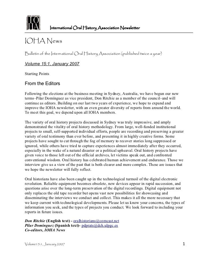 International Oral History Association NewsletterIOHA NewsBulletin of the International Oral History Association (publishe...