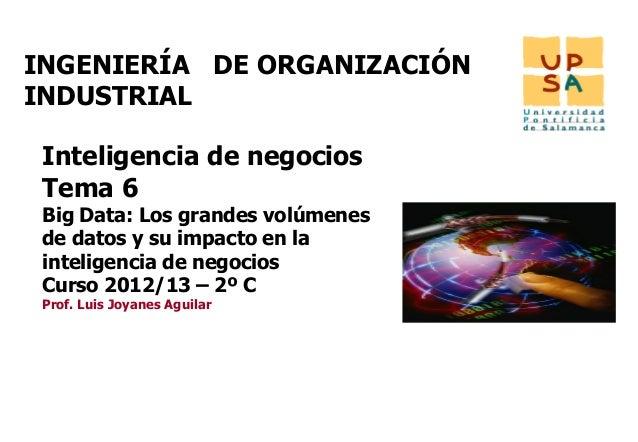 INGENIERÍA DE ORGANIZACIÓNINDUSTRIAL Inteligencia de negocios Tema 6 Big Data: Los grandes volúmenes de datos y su impacto...