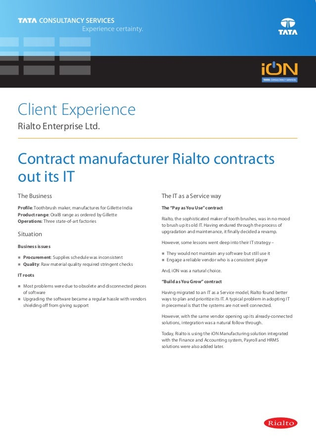 iON Manufacturing Solution Rialto Case Study