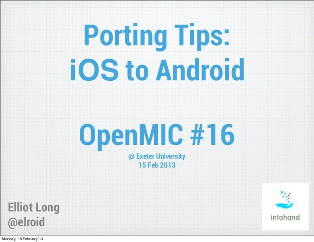 Porting Tips: iOS to Android