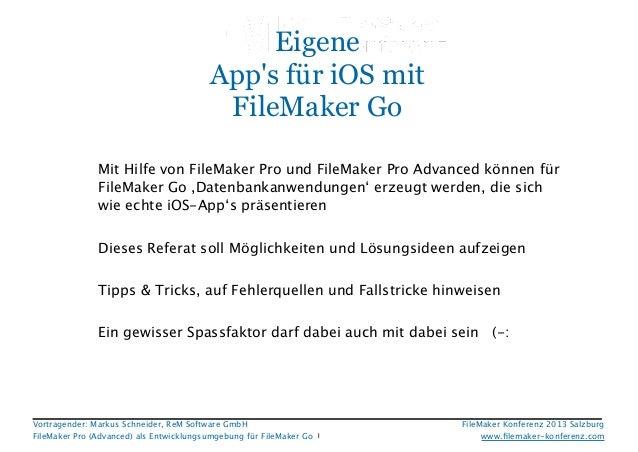 FMK 2013, Eigene Apps für iOS mit FileMaker Go, Markus Schneider
