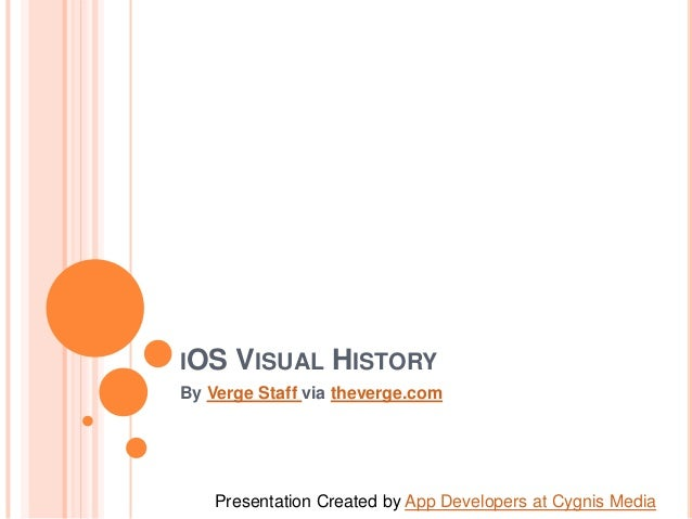 IOS  VISUAL HISTORY  By Verge Staff via theverge.com  Presentation Created by App Developers at Cygnis Media