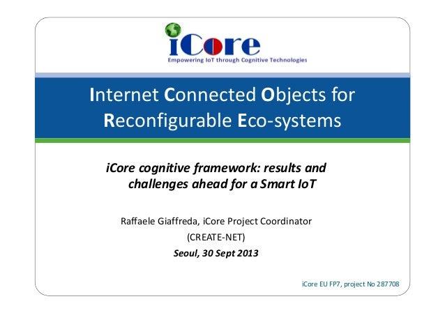 InternetConnectedObjectsfor ReconfigurableEco‐systems iCoreEUFP7,projectNo287708 iCore cognitiveframework:resu...