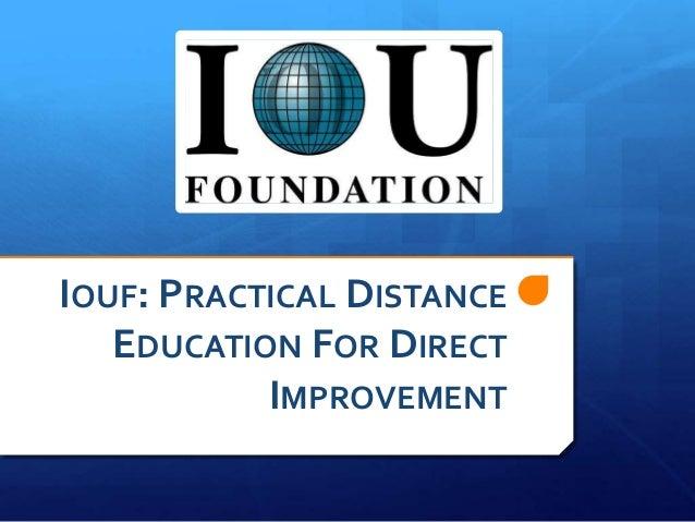 Intercultural Open University Foundation - Practical Distance Education for Direct Improvement