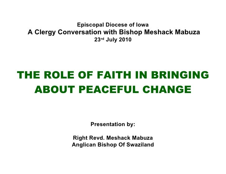 Presentation by Bishop Meshack Mabuza