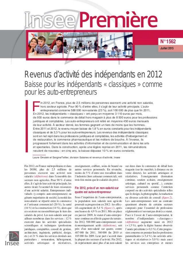 Revenus d'activité des indépendants en 2012 Baisse pour les indépendants «classiques» comme pour les auto-entrepreneurs F ...