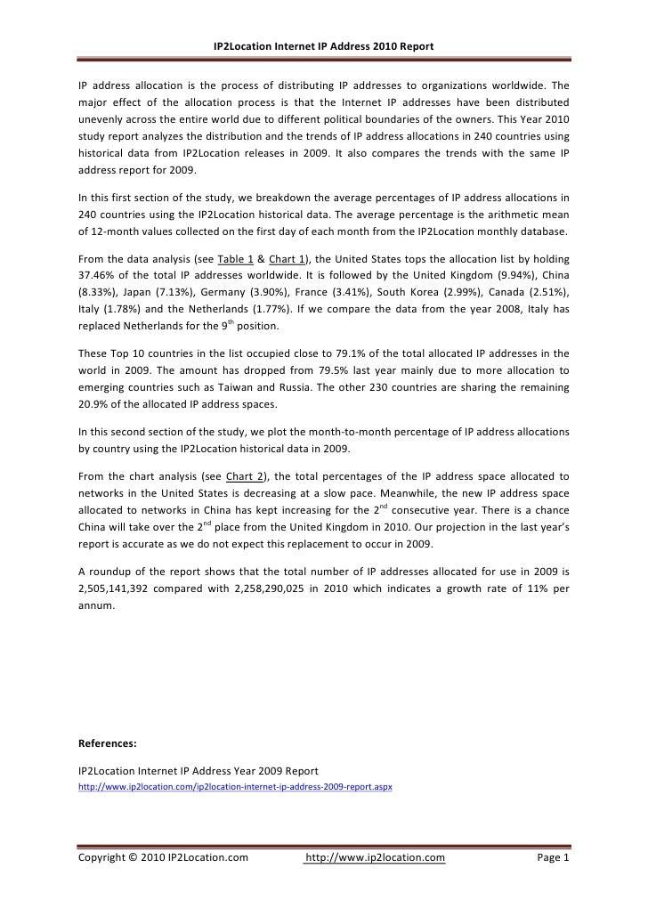 IP2Location Internet IP Address 2010 Report