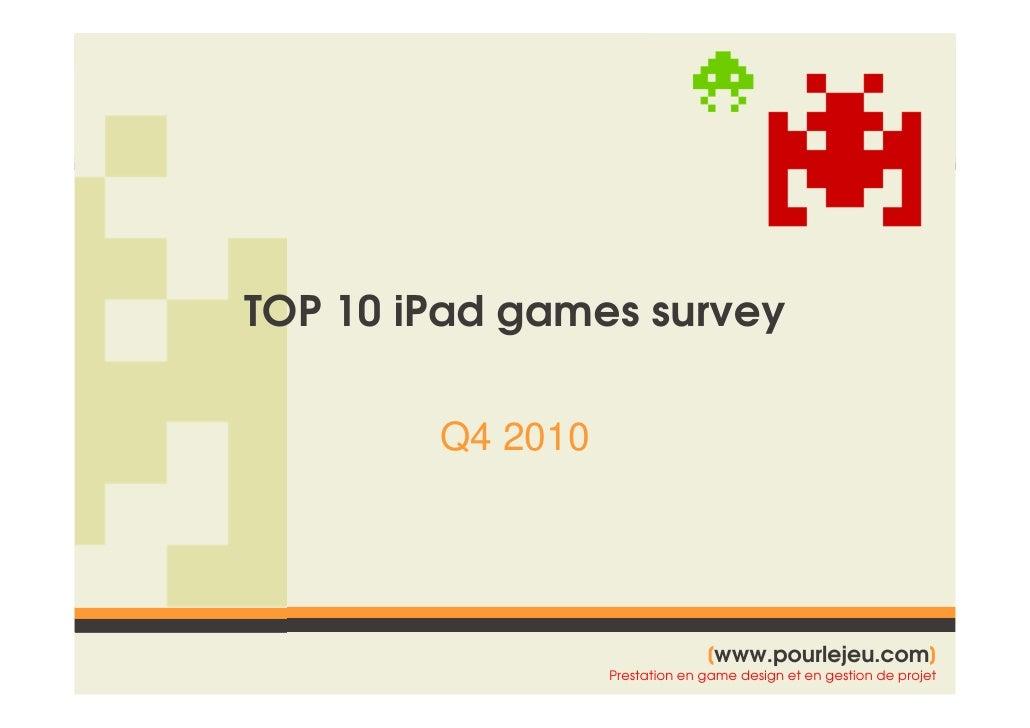 Pour Le Jeu - iPad - top 10 games - survey