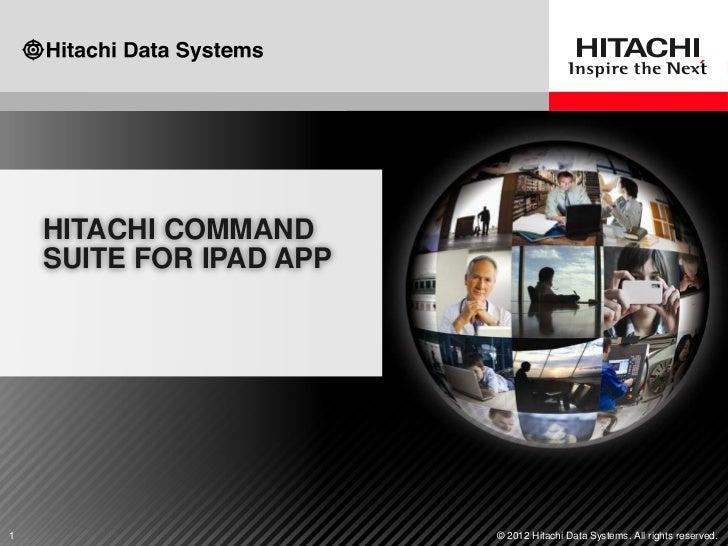 HDS iPad App for Hitachi Command Suite