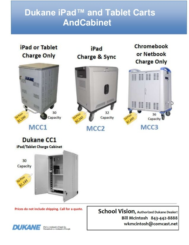 Dukane iPad™ and Tablet Carts AndCabinet