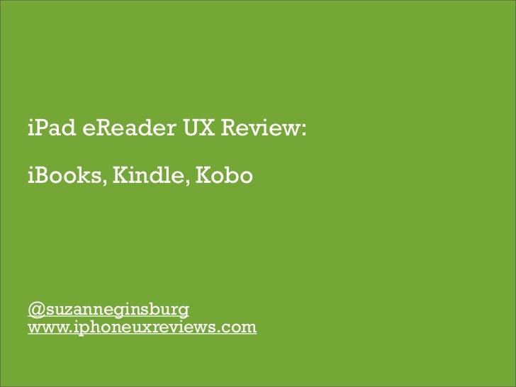 iPad eReader UX Review: iBooks, Kindle, Kobo
