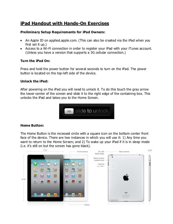 iPad Handout with Hands-On ExercisesPreliminary Setup Requirements for iPad Owners:   An Apple ID on applied.apple.com. (T...