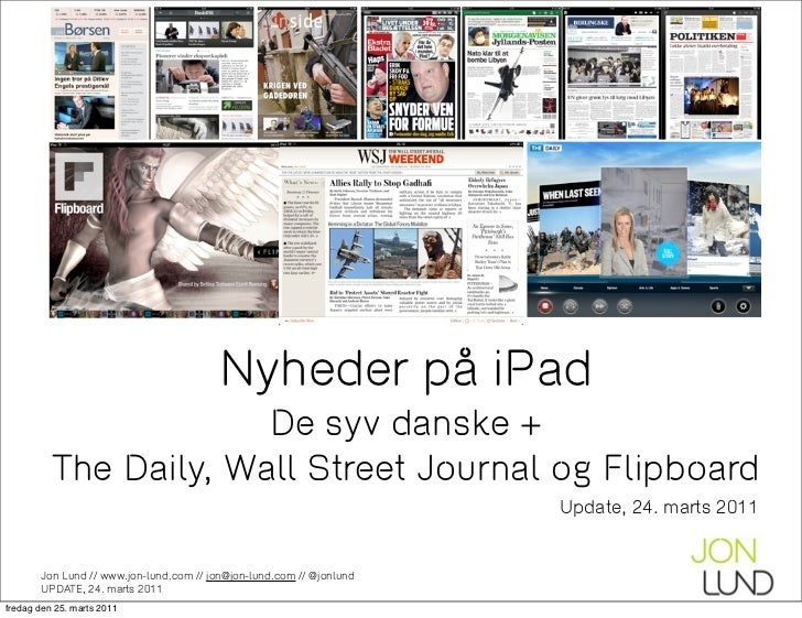 Nyhedsudgivelser på iPad - status pr marts 2011