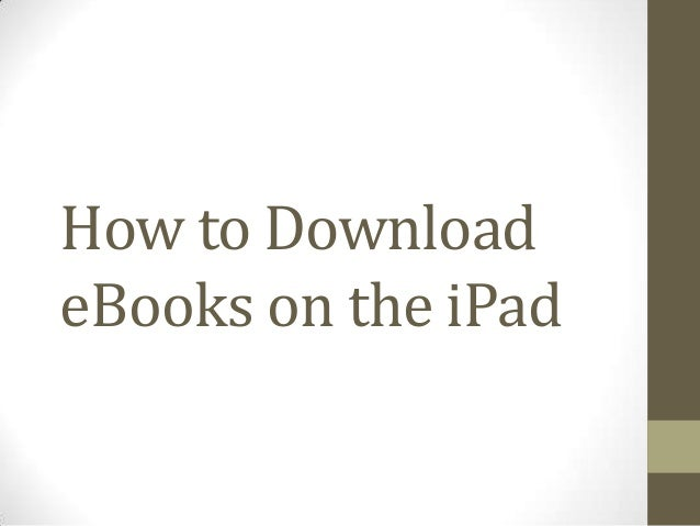 How to Download eBooks on the iPad