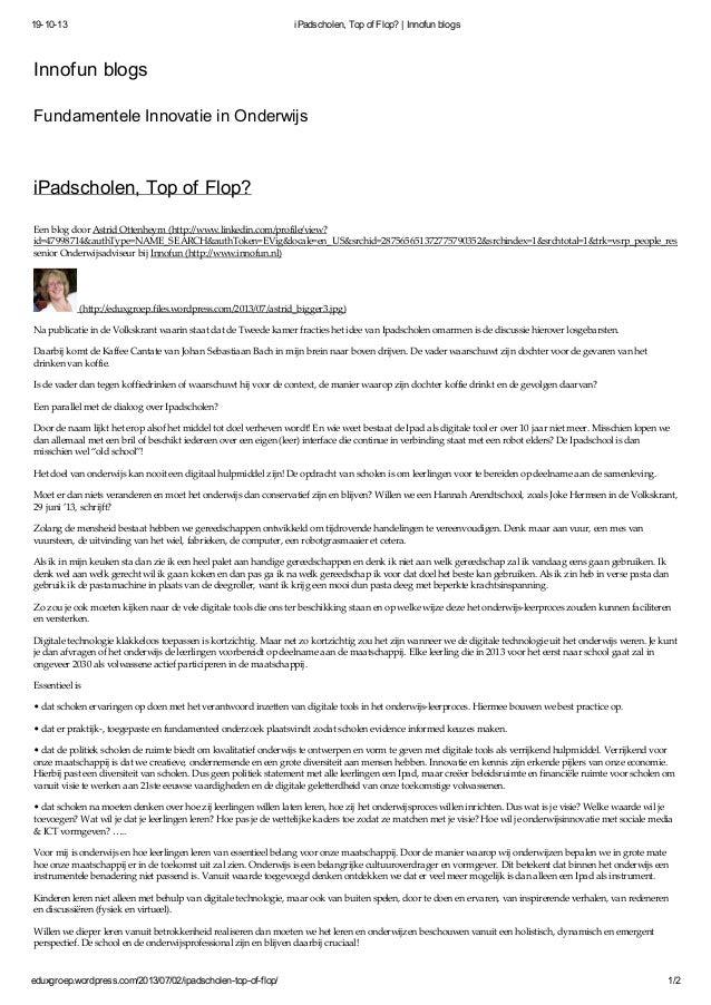 19-10-13  iPadscholen, Top of Flop? | Innofun blogs  Innofun blogs Fundamentele Innovatie in Onderwijs  iPadscholen, Top o...