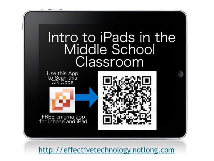 Intro to iPads in the      Middle School        Classroom  Use this App  to Scan this   QR Code            Text FREE enigm...