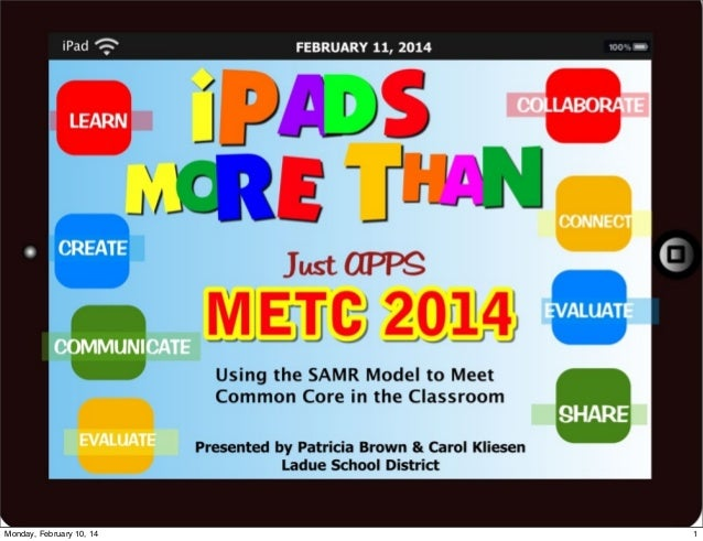 iPads More Than Just Apps-Using the SAMR Model to Meet Common Core