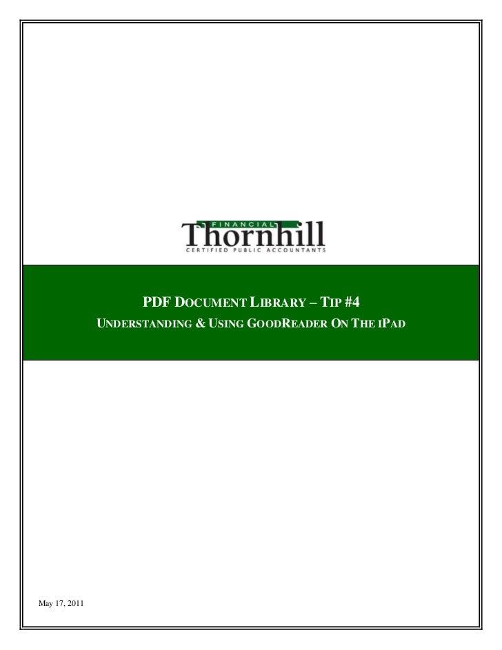 iPad Tip - PDF document library use_Goodreader App