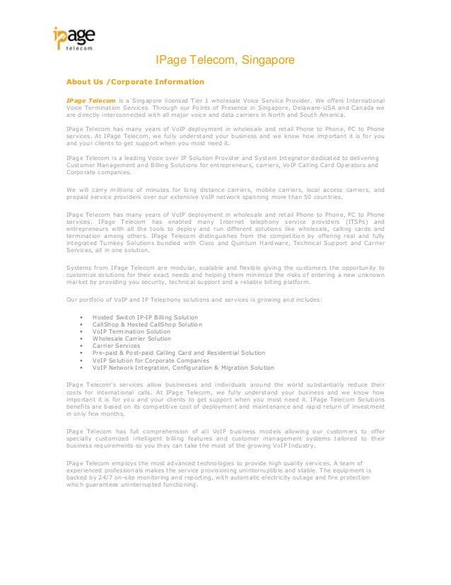 I page telecom corp profile