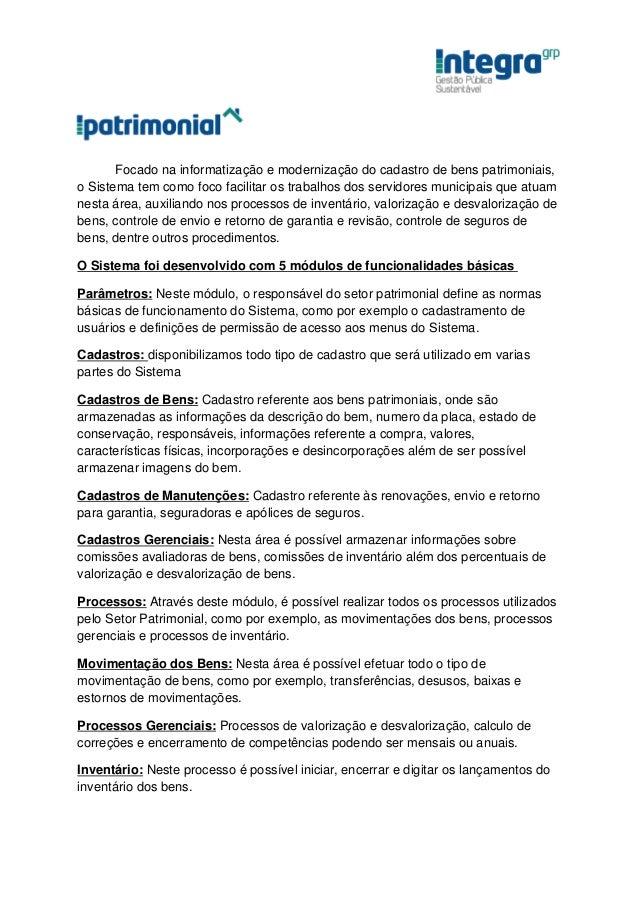 iPatrimonial - Software de Controle de bens do Patrimônio Público