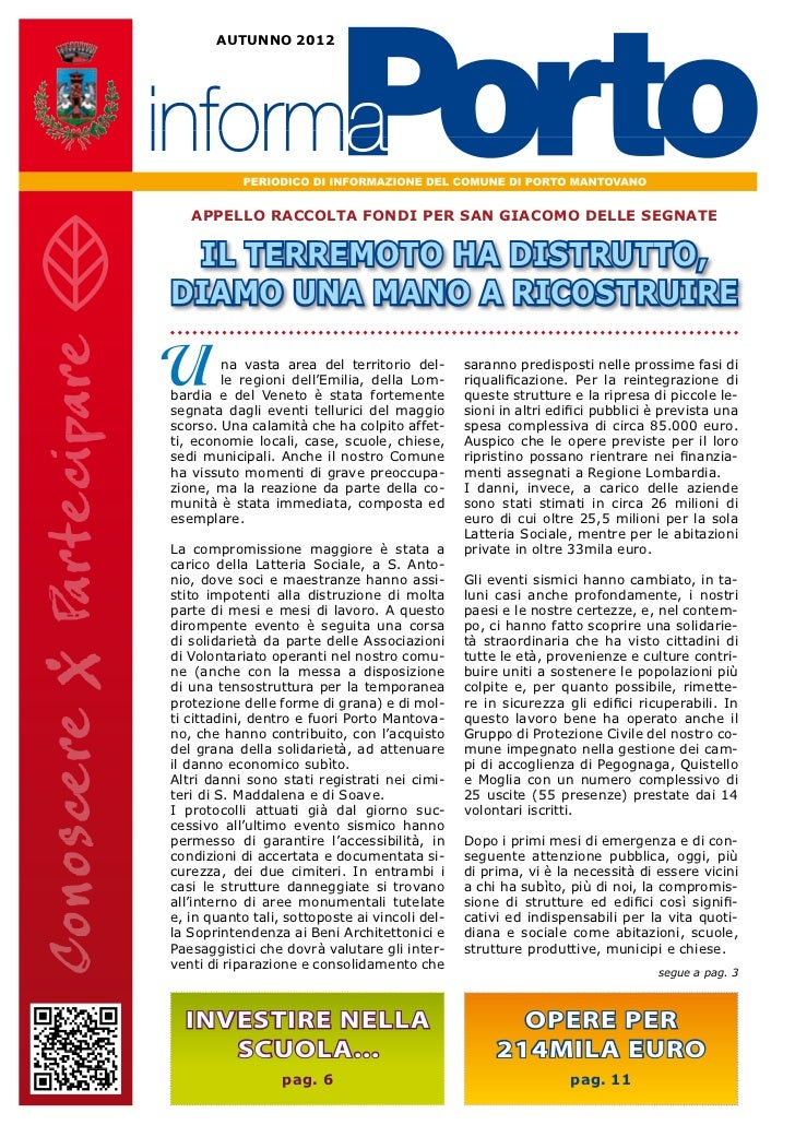 AUTUNNO 2012   APPELLO RACCOLTA FONDI PER SAN GIACOMO DELLE SEGNATE IL TERREMOTO HA DISTRUTTO,DIAMO UNA MANO A RICOSTRUIRE...