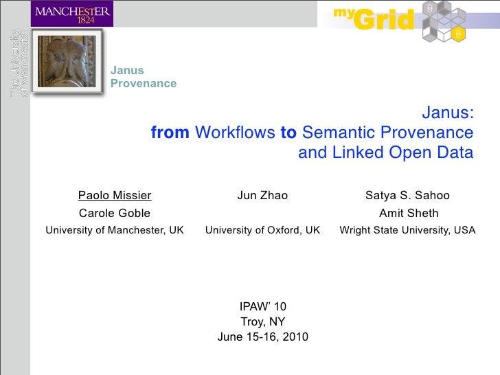 Janus              Provenance                                                      Janus:                      from Workflo...