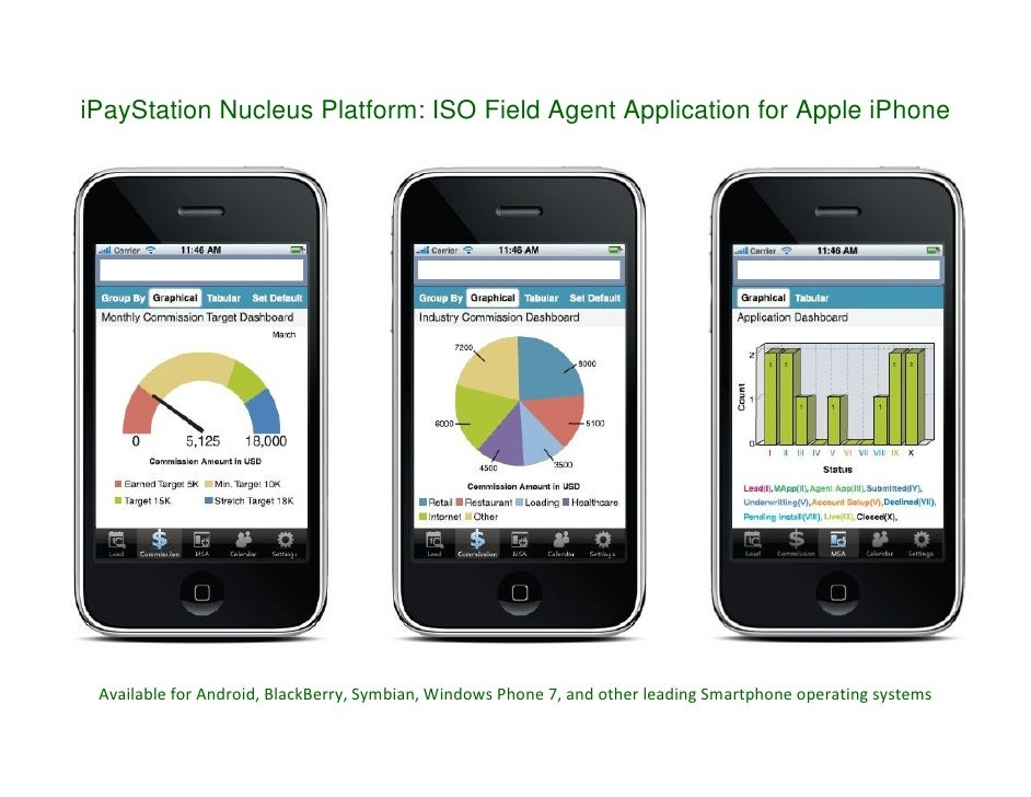 iPayStation Nucleus Platform: ISO Field Agent Application for Apple iPhone      Available for Android, BlackBerry, Symbian...